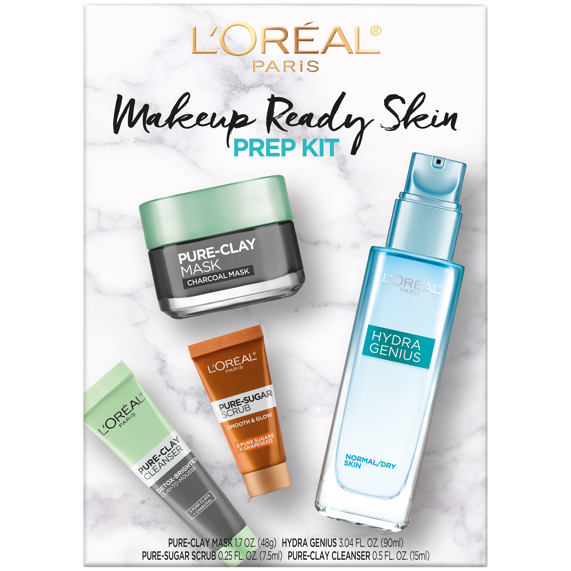 ($26.13 Value) L'Oreal Paris Skincare Makeup Ready Skin Prep Set, 4 Pieces