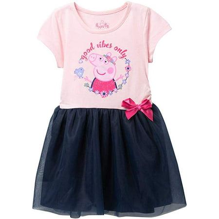 Peppa Pig Toddler Girls' Short Sleeve TuTu Dress - Pink/Navy