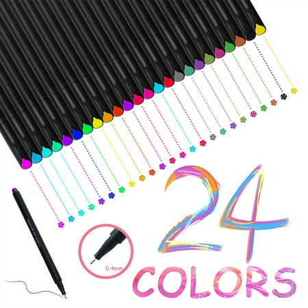 24 colored pens, PKPOWER 0.4mm fineliner writing drawing pen fine point maker for bullet journal sketch book notebook - best back to school and office gift [24