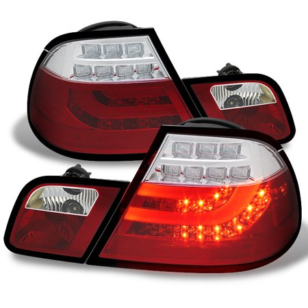 Fits 00-03 E46 3-Series 2D Coupe Red Clear LED Strip/Tube Design LED Tail Lights 3 Series 2d Coupe