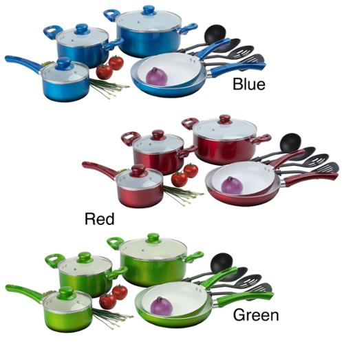Ceramic Non-stick 12-piece Cookware Set Green