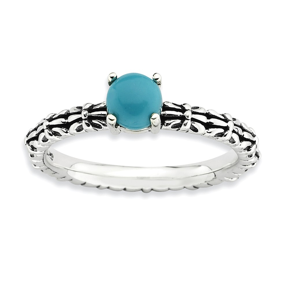 Sterling Silver Stackable Expressions Antiqued Turquoise Ring by Goldia