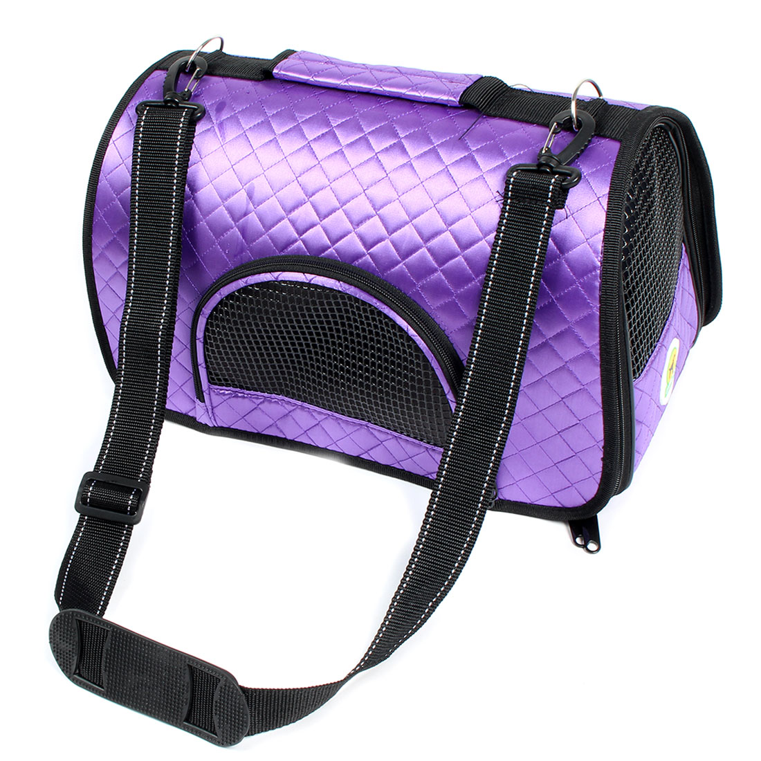 Travel Faux Leather Meshy Zipper Two Pockets Pet Carrier Holder Cage Bag Purple
