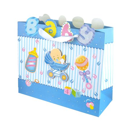 Glittered Baby Items  Baby Shower Paper Gift Bags, Blue, 10-Inch - Baby Shower Bags