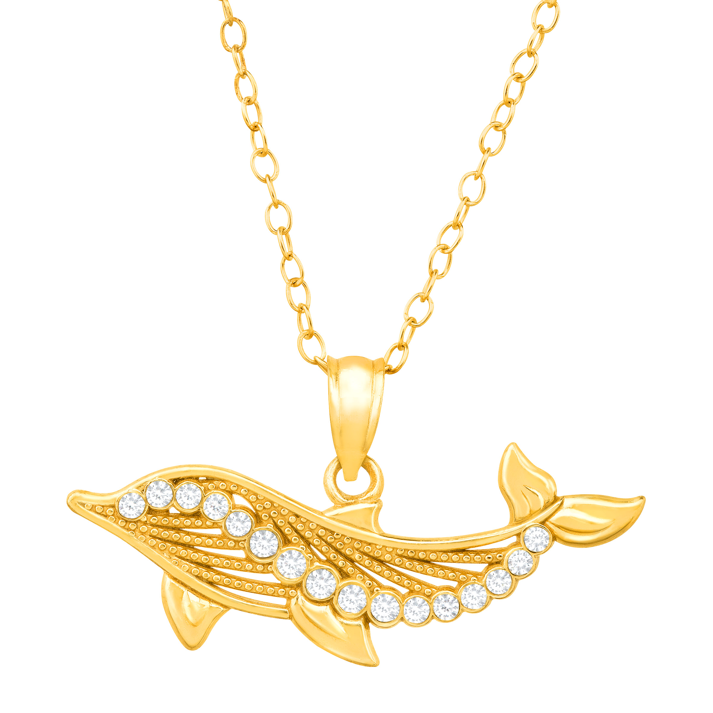 Crystaluxe Dolphin Pendant Necklace with Swarovski Crystals in 18kt Gold over Sterling Silver