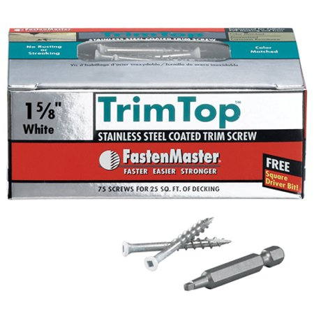 Trim Top Deck Screws, White Head, SS, 1-5/8