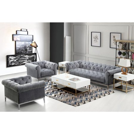 Monroe Tufted Sofa & Chair 2PC Set in Royal Platinum Grey Velvet with  Brushed Stainless Steel Trim & Leg by Diamond Sofa - Walmart.com