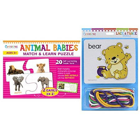 Creative Teaching Materials - Animal Babies Match & Learn Puzzle and Lace & Trace Animal (Animal Lacing Cards)
