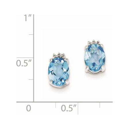 925 Sterling Silver Rhodium Oval SW Blue Topaz & Diamond Post (5x10mm) Earrings - image 1 de 2
