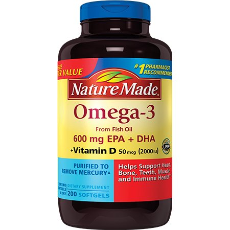 Nature Made Omega-3 from Fish Oil 720 mg + Vitamin D 50 mcg (2000 IU) Softgels, 200 Count for Heart Health†