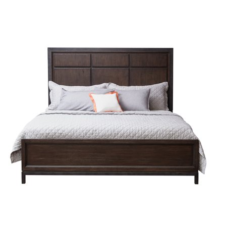 Dark Square Wooden Queen Headboard