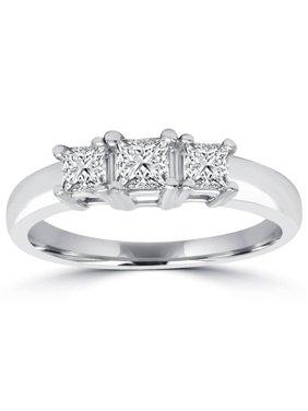 1ct Three Stone Princess Cut Diamond Engagement Ring 14K White Gold