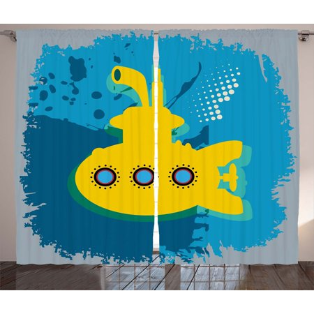 - Yellow Submarine Decor Curtains 2 Panels Set, An Illustration of a Submarine Bubbles Under the Sea Print, Window Drapes for Living Room Bedroom, 108W X 90L Inches, Mustard Petrol Blue, by Ambesonne
