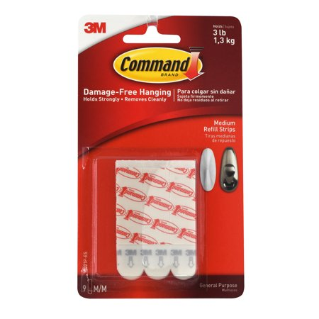 Dry Mount Adhesive (3M 17021P Command Medium Refill Mounting Adhesive Strip-MEDIUM COMMAND STRIPS )