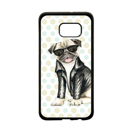 - Hippie Pug Dog in Motorcyclers Leather Jacket Design Protective Black Plastic Phone Case Cover That Is Compatible with the Samsung Galaxy s8 Plus / s8+ / s8P