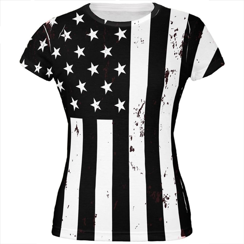 4th Of July Black And White Distressed American Flag All Over Juniors T-Shirt