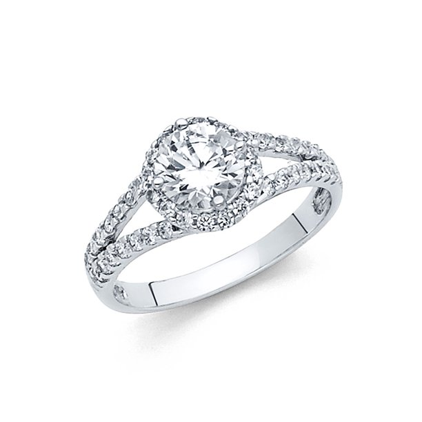 Fb Jewels Fb Jewels 14k White Gold Cubic Zirconia Cz Engagement Ring Size 5 Walmart Com Walmart Com