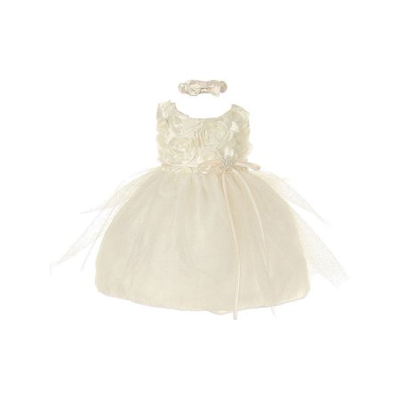 Brooches For Dresses - Baby Girls Ivory Rosette Sparkle Tulle Rhinestone Brooch Flower Girl Dress 6-24M