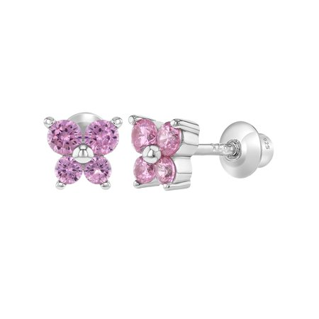 925 Sterling Silver CZ Butterfly Earrings Toddlers Baby Kids Screw Back