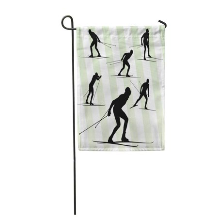 LADDKE Ski Cross Country Skiing Skier Abstract Action Active Activity Adult Black Garden Flag Decorative Flag House Banner 12x18 inch