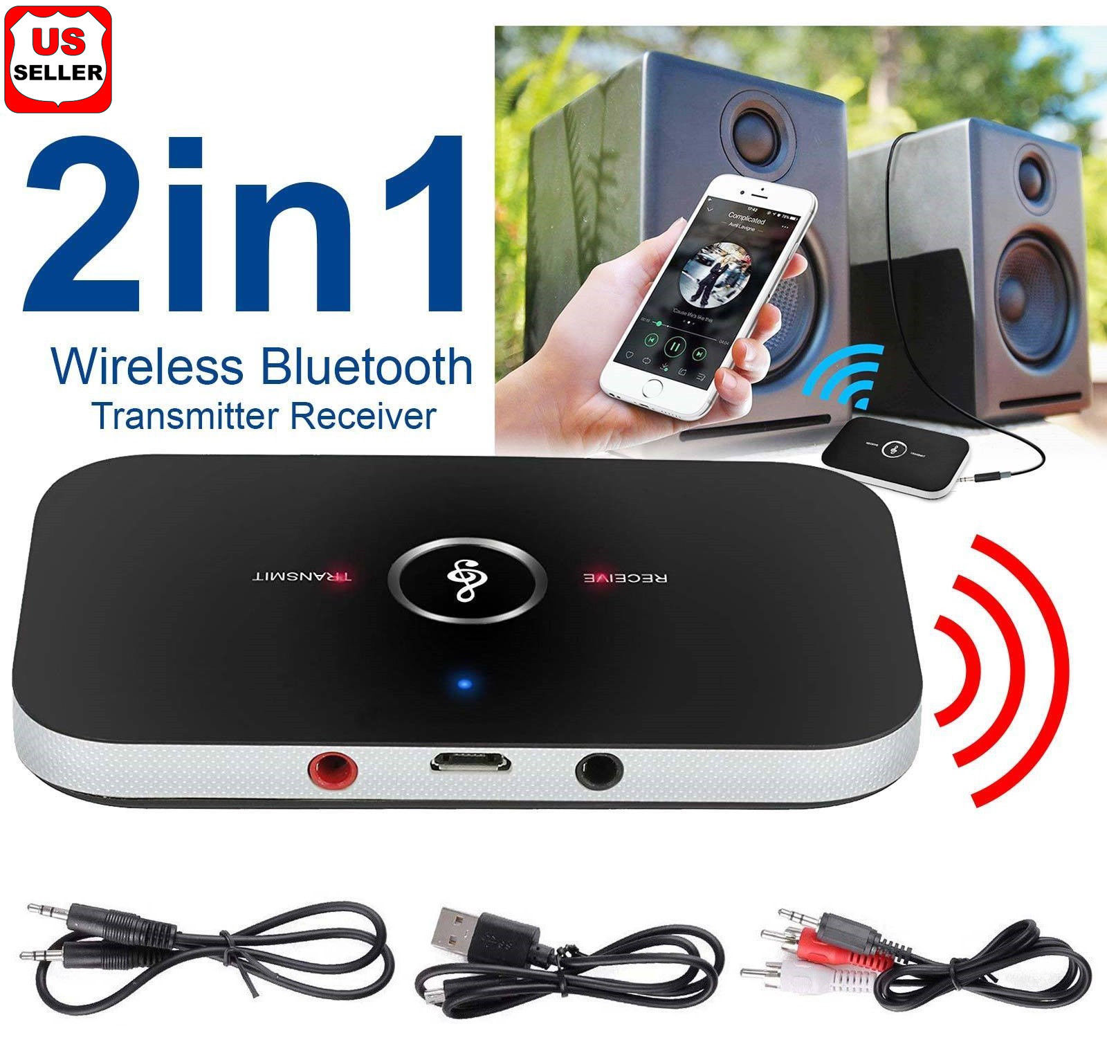 LINKPAL Bluetooth Transmitter & Receiver,Wireless Stereo Audio Adapter Car  Kit for TV,Headphone,Home Stereo System,Computer, Bluetooth V4 Transmitter