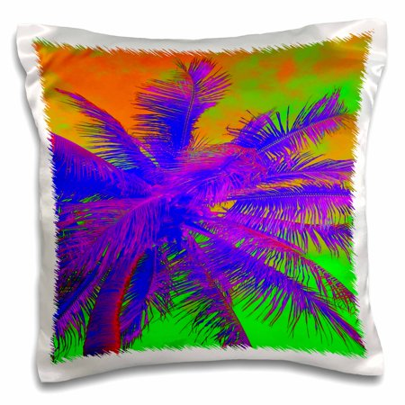 3dRose Image of Beautiful Purple And Lime Florida Palm in Neon - Pillow Case, 16 by 16-inch