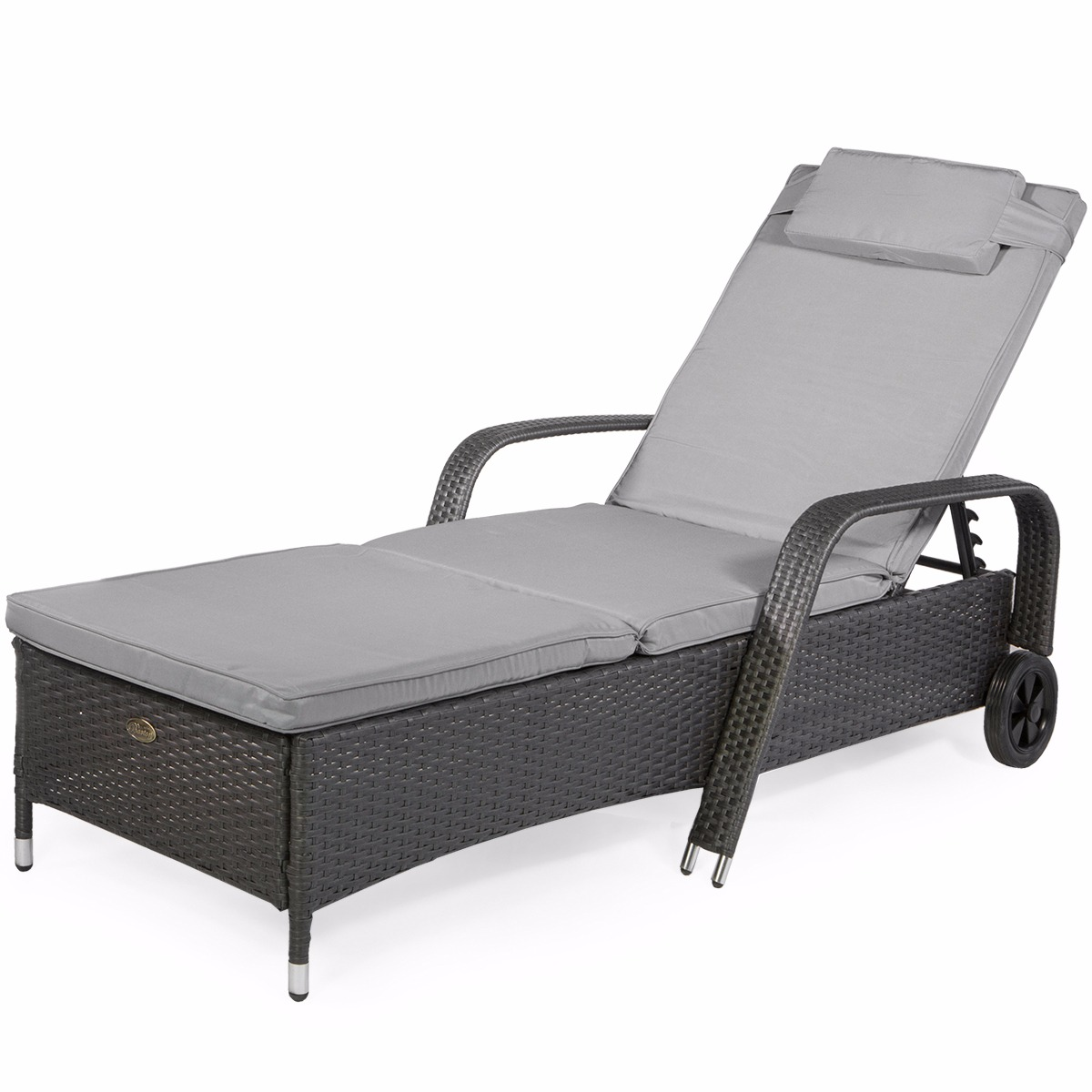 XtremepowerUS Barton Outdoor Patio Adjustable Rattan Wicker Pool Chaise  Lounge Chair With Wheels, Gray