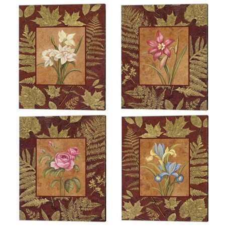 Metaverse Debra Lake 'Flowers With Leaf Border' Canvas Art (Set of 4)