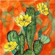 En Vogue B-298 Cactus with Yellow Flowers - Decorative Ceramic Art Tile - 8 in. x 8 in.