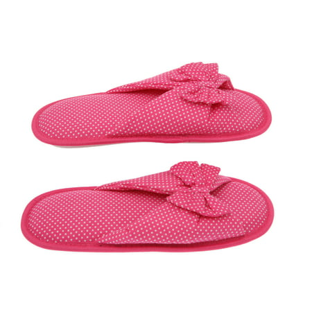 Living Health Products Cotton Memory Foam Women's Slipper with Butterfly Tie