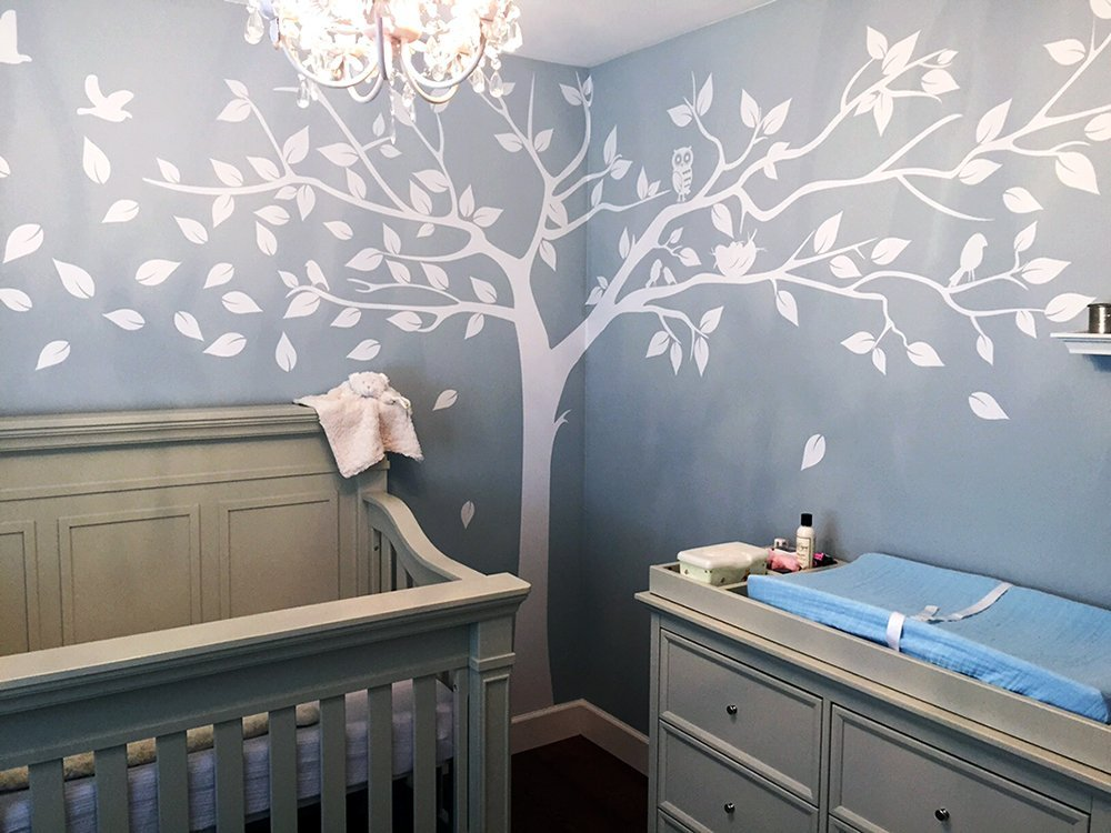 Misshow Large White Tree Wall Decal For Nursery With Cute Owls Wall StickerFamily Tree  sc 1 st  Walmart.com & Misshow Large White Tree Wall Decal For Nursery With Cute Owls Wall ...
