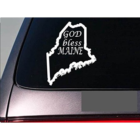 """Maine God Bless 6"""" sticker *E724* state outline home map decal vinyl"""