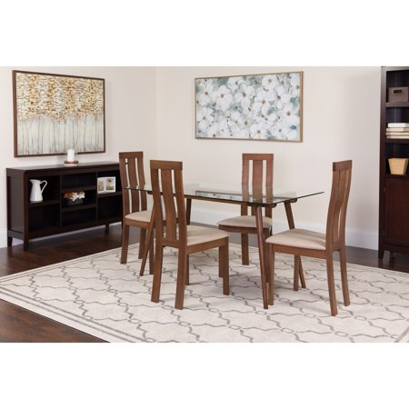 Flash Furniture Lindsay Piece Walnut Wood Dining Table Set With - Glass or wood dining table