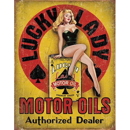 Vintage LUCKY LADY Motor Oil Sticker (gas gasoline logo old rat