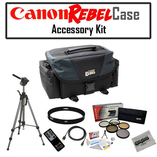 "Canon REBEL SLR Gadget Bag For EOS or Rebel Cameras with OPT-7000 70"" Tripod, 58mm HD 5 Piece Filter Kit (UV/CPL/FL/ND4/10x Macro), 58mm HD II UV Ultra Violet Haze Multi-Coated Glass Filter and MORE!"
