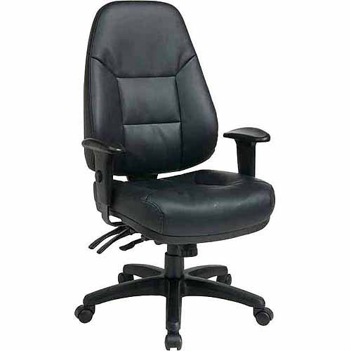High-Back Leather Office Chair, Black