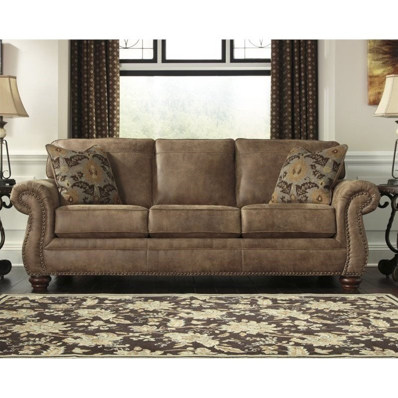 Ashley Larkinhurst Faux Leather Sofa In Earth - Walmart.Com