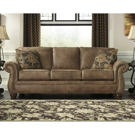 ashley larkinhurst faux leather sofa in earth. beautiful ideas. Home Design Ideas