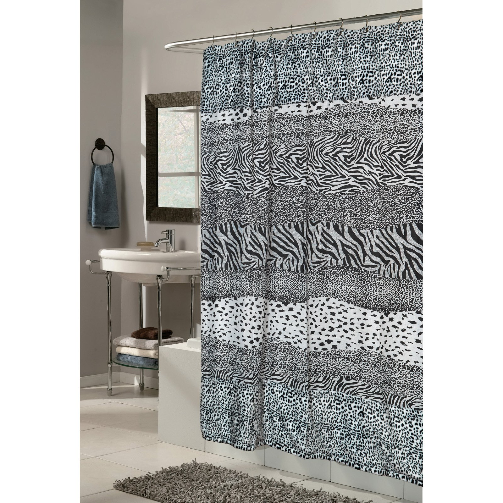 Carnation Home Fashions Animal Instincts Faux Fur Stripe Print Shower Curtain with PEVA Liner