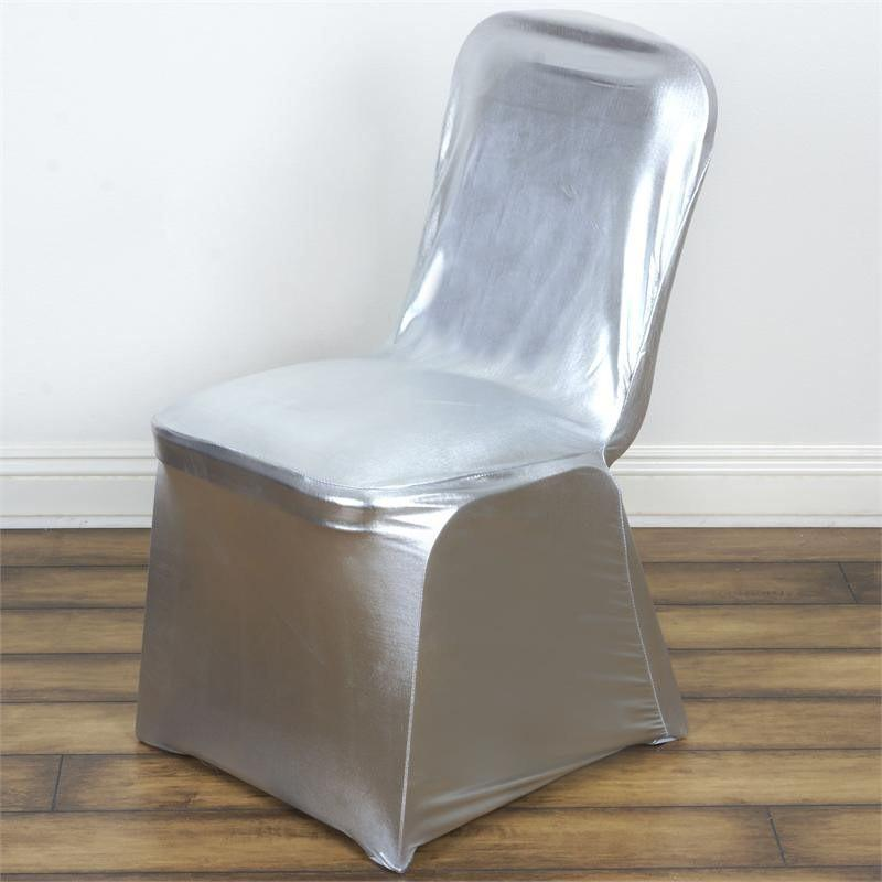 BalsaCircle Silver Metallic Banquet Lame Spandex Stretchable Chair Cover Slipcover - Party Wedding Reception Home Dining Catering