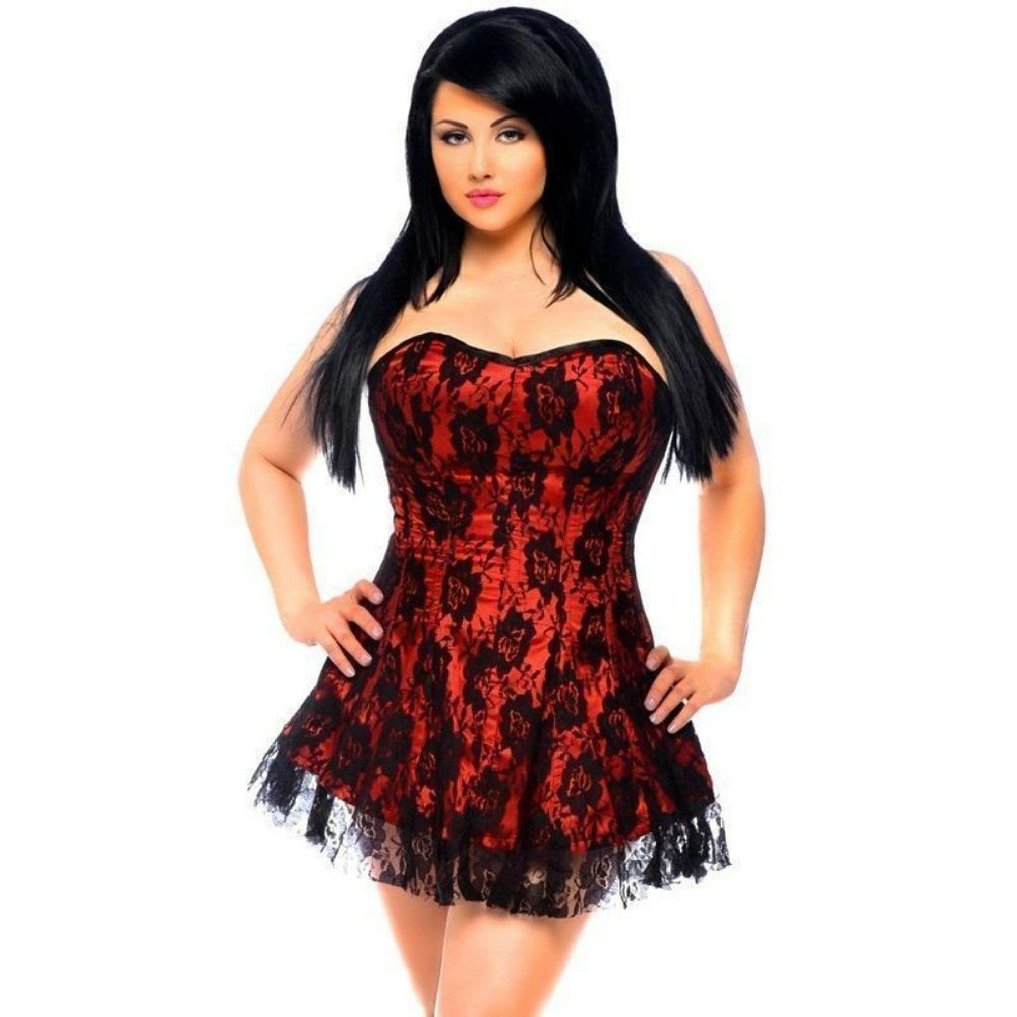 03e3e54ee2 Daisy Corsets Lavish Red Black Lace Dress Front Zipper Sexy Lingerie 2x-6x  Plus