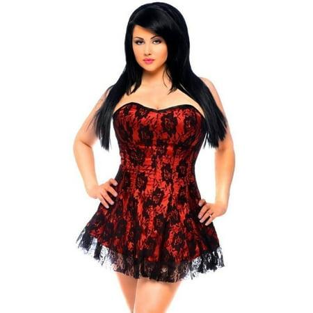 672cf1612 Daisy Corsets Lavish Red Black Lace Dress Front Zipper Sexy Lingerie 2x-6x  Plus ...