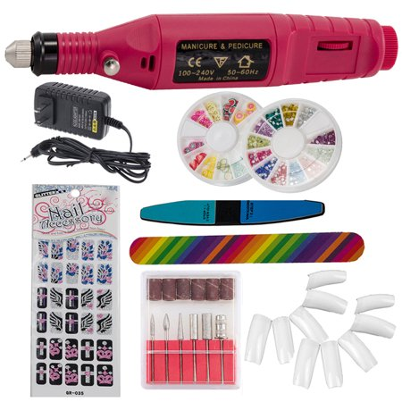 iMeshbean Professional Colorful Nail Art Drill Kit Electric File Buffer Acrylics 6 File Pedicure Machine with Gifts-Pink](Purple Halloween Nail Art)