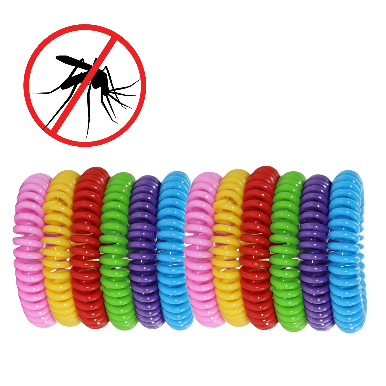 12 Pack Natural Mosquito Insect Repellent Bracelets Outdoor Indoor Bug Pest Control Multicolor Wristbands