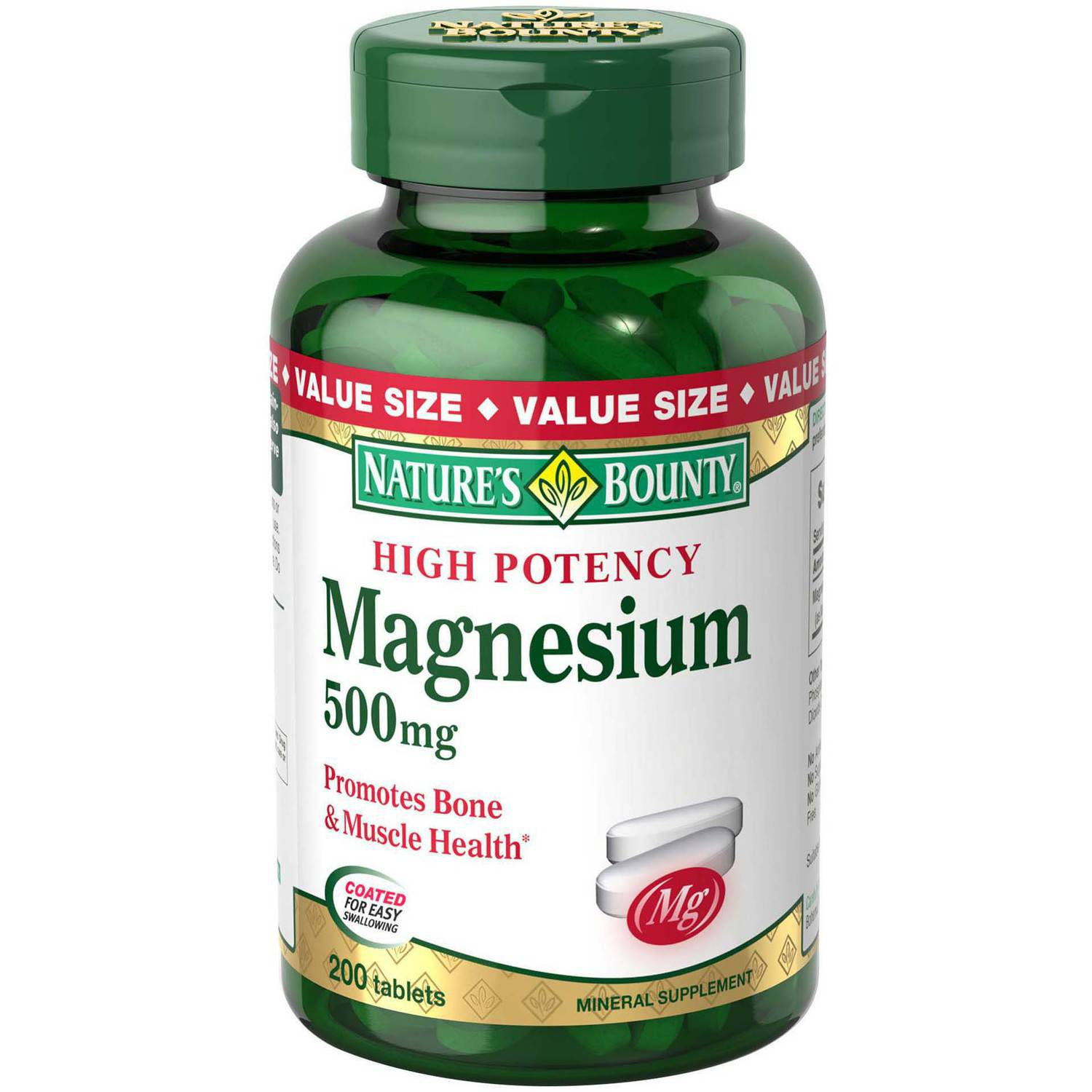 Nature's Bounty Magnesium Mineral Supplement Tablets, 500mg, 200 count