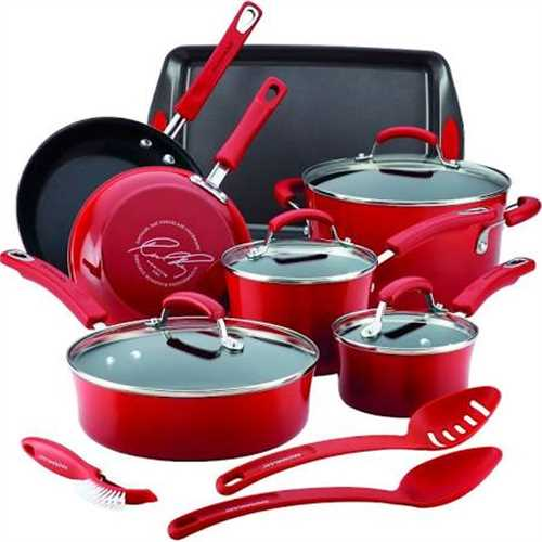 Rachel Ray 14 Piece Non-Stick Cookware Set Kitchen Pots And Pans Hard Enamel - Red