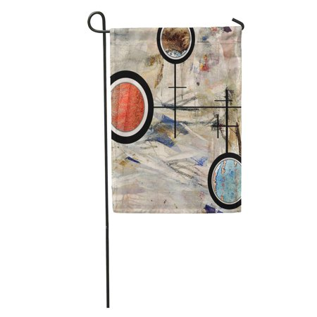 KDAGR Colorful Painting Abstract Collage Mixed Media and Watercolor on Oil Garden Flag Decorative Flag House Banner 12x18 inch