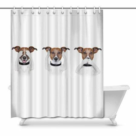 MKHERT See No Evil Hear No Evil Speak No Evil Funny Dog Home Decor Waterproof Polyester Bathroom Shower Curtain Bath 66x72