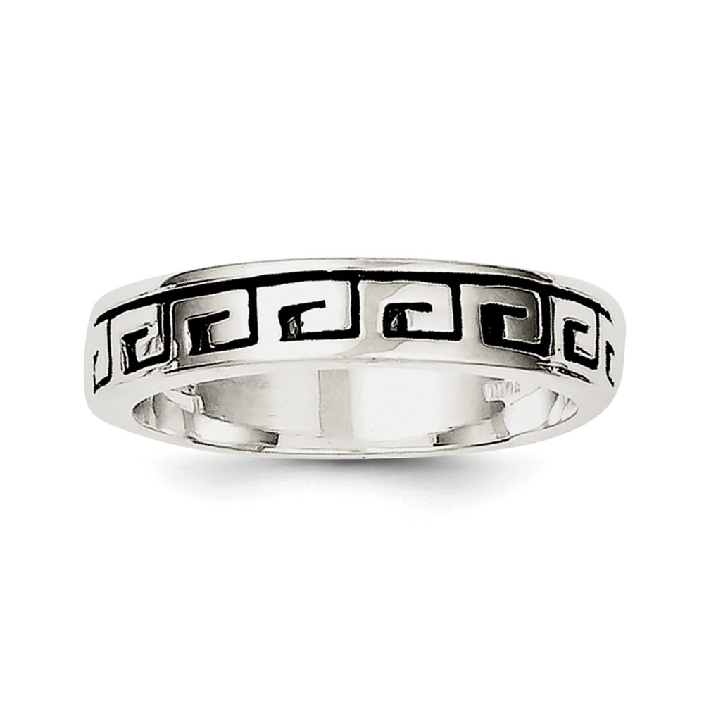 Sterling Silver Greek Key Antiqued Band Ring by Goldia