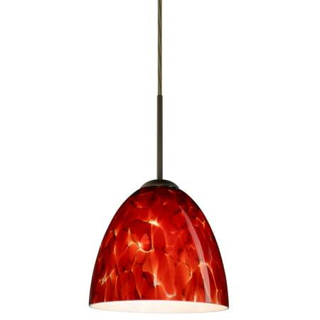 Besa Lighting 1JT-447041 Vila 1-Light Cord-Hung Mini Pendant with Garnet Glass Shade 1 Light Cord Pendant